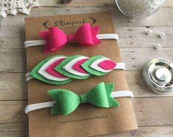Baby Felt Headband, Wool Blend Felt, Baby Headband, Felt Bow, Alligator Clip, Pink, Green, Watermelon