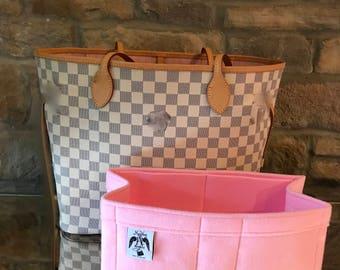 NEVERFULL MM  INSERT  Bag Liner Organiser Felt Whisper Pink By Handbag Angels Made in England
