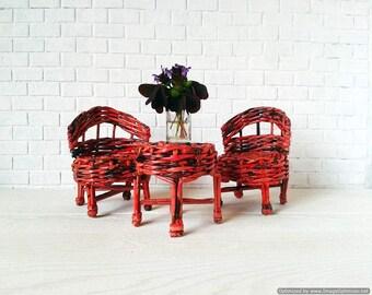 Miniature dollhouse furniture set. Kidkraft wicker doll accessories. Artisan and unique from Wicker Handmade shop.