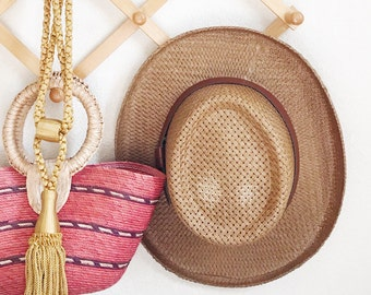 Vintage Straw Gamblers Hat with Leather Band / Weatherproof Straw Hat / Sun Hat