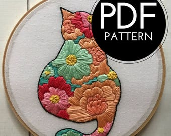 digital hand embroidery pattern | floral cat design | digital PDF download | embroidery pdf | embroidery pattern
