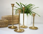4 Gold Bell-Shaped Candlestick Holders / Vintage / Antique / Retro / 70's / Wedding Decor / Centerpiece / Mantle Decor / Fixer Upper Style