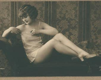 Risqué 1920's Little Lady | Parisian Postcard | Photographer Mandel | French Erotica | Sweet Flapper in Silk Lingerie and Mules |