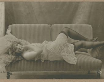Maud d'Orby In Black Stockings | Blonde Reclining Parisian Belle Époque Showgirl | Erotic Postcard 1910's | Feather Plumes | Risqué |