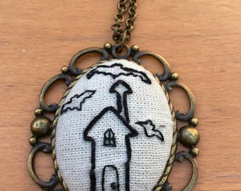 Embroidered Haunted House Necklace