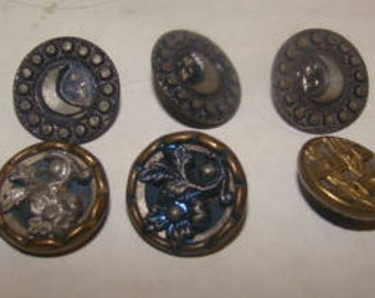 Nice Lot of 6 Vintage Metal Sewing Buttons