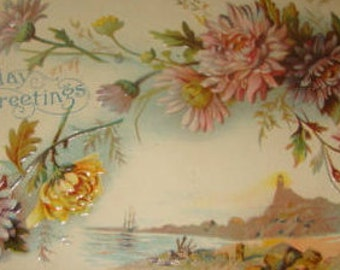 Lovely Vintage Embossed Floral/Sceanic Postcard # 5