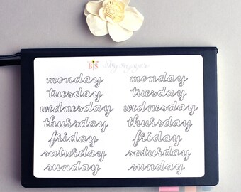 Days of the week hand lettered coloring planner stickers