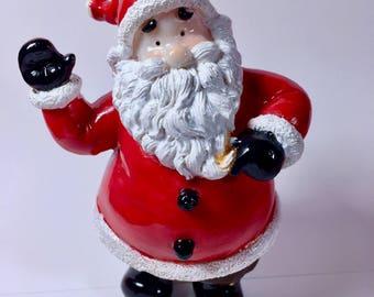 Small Hand Painted Waving Santa Christmas Decoration Gift