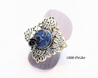 Cabochon blue agate stone silver butterfly Ring