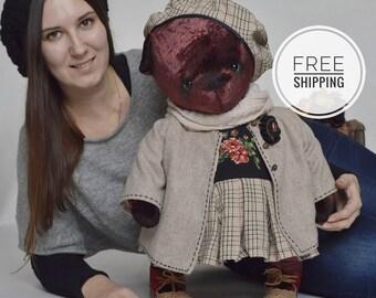 Artist bear teddy Burgundy bear teddy Plush toy bear Burgundy toy Big teddy bear big toy Artist bear Burgundy teddy bear OOAK Bear girl