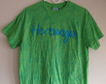 """medium green tie dyed hand embroidered """"here we go"""" t-shirt"""