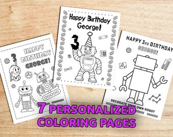 ROBOT Birthday Party Coloring Pages / Party Activity / Robot Party / Printable / Digital / PDF
