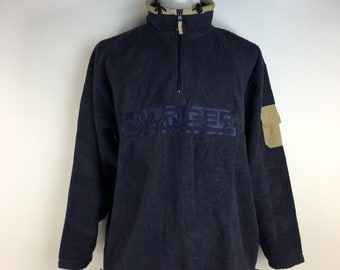 TOMMY HILFIGER Fleece Jacket Zip Front Big Logo Luxury Designer L