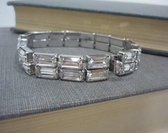 Vintage Signed Weiss Emerald-Cut Rhinestone Bracelet