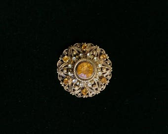 Gold Wash Rhinestone Brooch