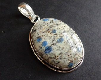 """Handmade Pendant-Natural K-2 stone .925 Silver Plated 2.8"""" 13.6 gms very nice."""