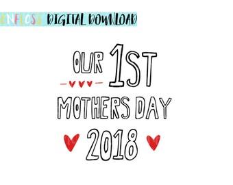 My 1st Mothers Day SVG  Moms 1st Mothers Day, 1st Mothers Day Babygrow, Mothers Day Outfit, Mothers Day Card, SVG Cut File, Mom Cricut SVG