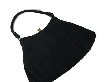 Vintage 40s Black Suede Evening Bag by Kessler