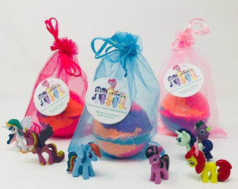3 or 5 7.0 oz Kids My Little Pony Party Inspired Kids Bath Bombs Party / Easter Egg Birthday Favor Set, All Natural & Homemade with Texas S