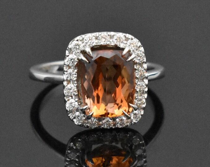 18K White Gold Imperial Topaz & Diamond Ring | Engagement Ring | November Birthstone | Statement Ring | Diamond Halo | Handmade fine jewelry