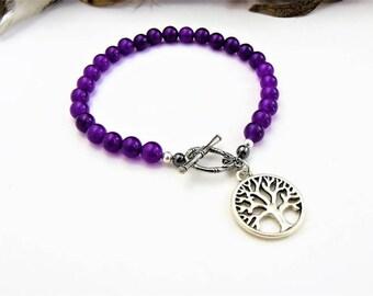 Tree of Life Bracelet, Tree of Life Charm, Charm Bracelet, Beaded Bracelet, Tree of Life Jewelry, Purple Bracelet, Silver Tree of Life Charm