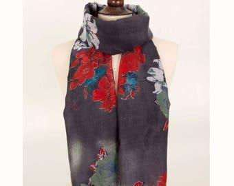 Women Scarf, Rose Print Scarf, Floral Print Scarf, Grey Scarf, Flower Scarf,Long Scarf, Fashion Scarf, floral Scarf, for her, Spring Scarf