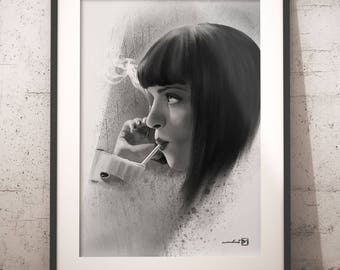 Mia Wallace, Uma Thurman, Pulp Fiction, artwork, handmade, PRINTABLE art, poster, instant download, digital print, home decor, wall art