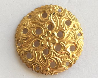 Miriam Haskell Vintage Gold Tone Floral Brooch