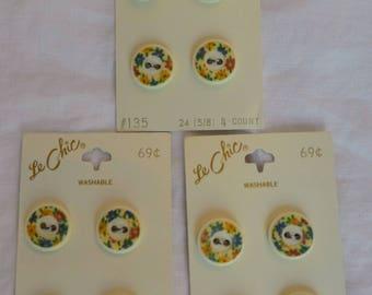 """Vintage Le Chic Floral Buttons 5/8"""""""