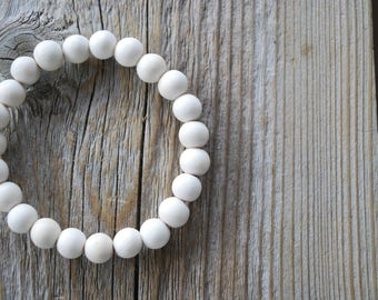 White wood bracelet yoga bracelet mala beads meditation bracelet  yoga jewelry white wood beads mala bracelet