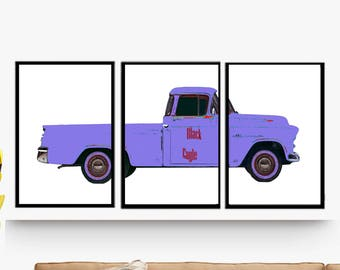 Decorative poster, poster. Triptych 3 posters. Classic car Decoration wall Lounge, office.