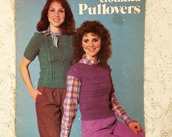 Crocheted Pullovers, Leisure Arts Leaflet 257, Vintage 1983, Ladies Misses Sweater Patterns, Crochet Patterns, Shell Yoke, Popcorn