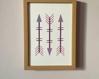 Purple Arrows Art Print- Instant Download