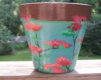 Japanese inspired cherry blossom terra cotta pot