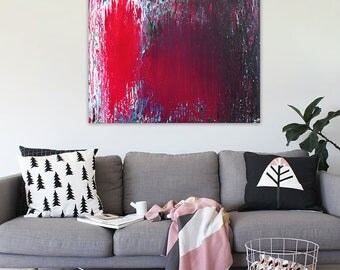 """Large Abstract Wall Art on Canvas - Handmade Fluid Acrylic Painting Ready to Hang - Modern Pour Art - 24"""" x 32"""" - Pink and Black Painting"""