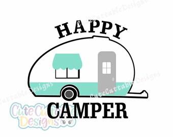 Happy Camper SVG,Camping svg RV svg Camper svg Summer svg RV Happy Camper Svg, Eps, Dxf,Png Silhouette Studio Cricut Vector Cut Files
