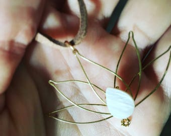Hand Made Wire Lotus Flower Necklace