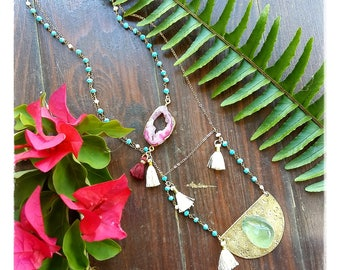 half moon brass with fluorite and 14K Gold filled chain necklace