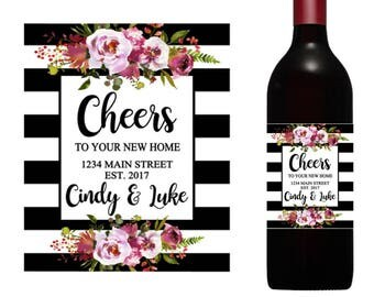Cheers Wine Label, housewarming gift, new house wine, custom wine labels, wedding gift, new home gift, realtor wine label, realtor gift