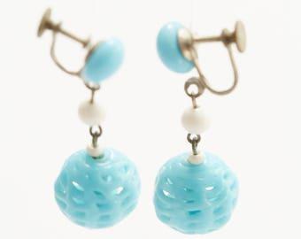 Vintage 50s Rare Spun Glass Earrings, Czechoslovakian, Handmade, Spun Glass, Lampwork, delicate, robins egg blue, wedding, bridal