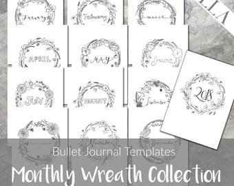 Bullet Journal Templates | Printable Monthly Covers | Planner Insert | Instant download | 2018 | Refill page | Digital | Bujo Starter Kit