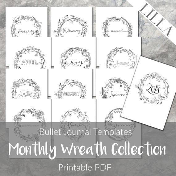 Bullet Journal Templates Printable Monthly Covers Planner
