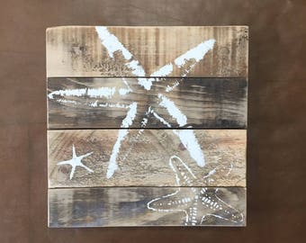 Sea Stars Pallet Art, Reclaimed wood art, Starfish art, fence art, marine wall art, Coastal Decor