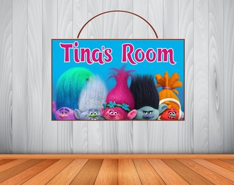 Personalized Trolls Sign, Trolls Personalized Wooden Name Sign, Trolls Room Decor,  Trolls Birthday