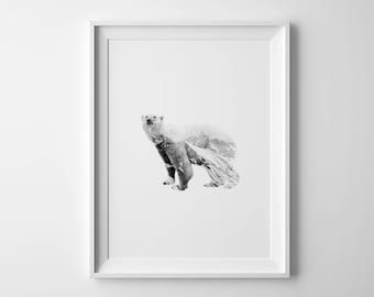 Polar bear print Double exposure Polar bear poster Bear poster Monochrome nursery Arctic animal Double exposure art Digital bear print