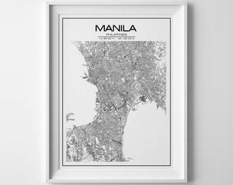 manila map, city map, philippines map, manila print, manila poster, manila philippines, manila map print, manila gift, printable map, map