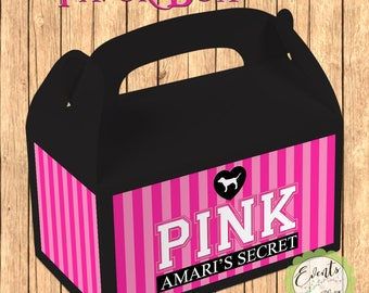Victoria's Secret PINK  Stripe Inspired Favor Box,  PINK Inspired Treat Box, PINK Party Boxes - Set of 12