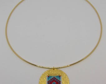 Court round gold locket - red and turquoise necklace