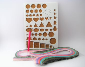Quilling set with template board - quilling pen and paper quilling strips - Paperolles - Beginner's Kit - Quilling Kit